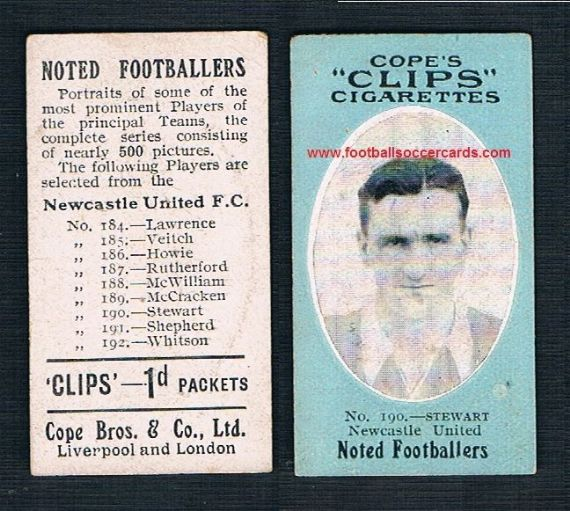 1910 Cope Brothers Noted Footballers 500 series Newcastle United #190 Stewart